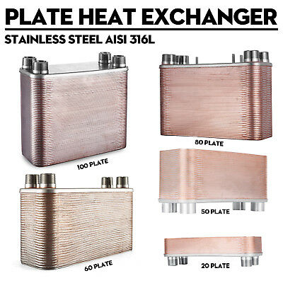 - 20-100 Plate Water to Water Brazed Plate Heat Exchanger 1~1.25'' MPT Ports USA