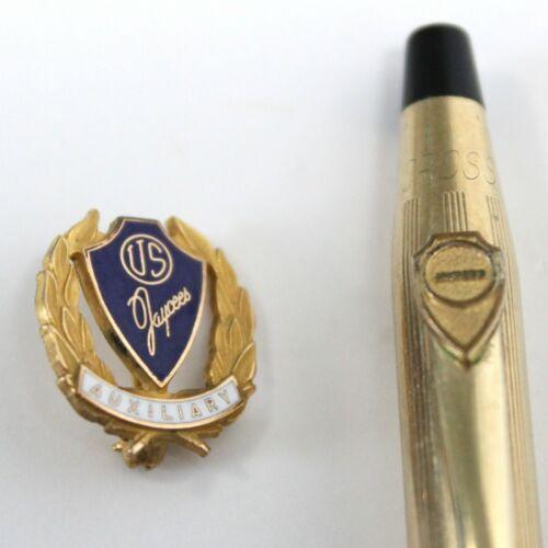 JAYCEES Vintage CROSS PEN 10K Gold Filled & AUXILIARY enamel PIN Service Award