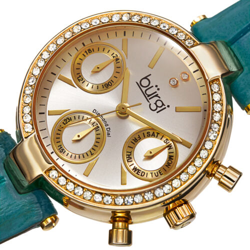 New Women's Burgi BUR129GN Diamond Swiss Multifunction Green Leather Strap Watch