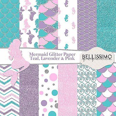 Teal, Lavender, Pink Silver Glitter Mermaid Inspired papers, Scrapbook paper - Pink Scrapbook Paper