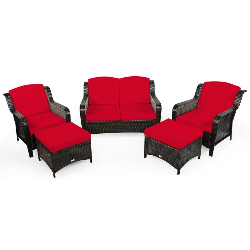 5PCS Rattan Patio Conversation Sofa Furniture Set Outdoor w/ Red Cushions
