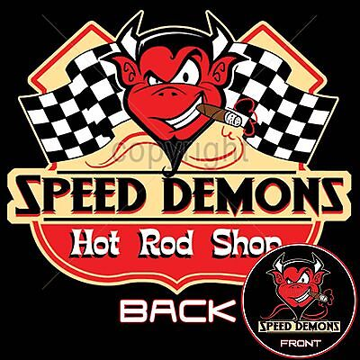 Speed Demon Hot Rod Speed Shop T Shirt Retro Little Devil Small to 6XL and Tall ()