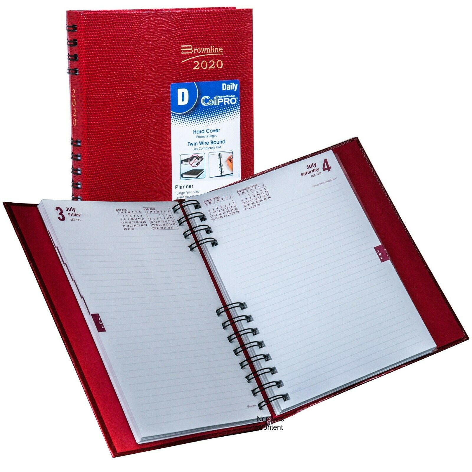 2020 Brownline CB389C.RED CoilPRO Daily Planner Diary, Hardc