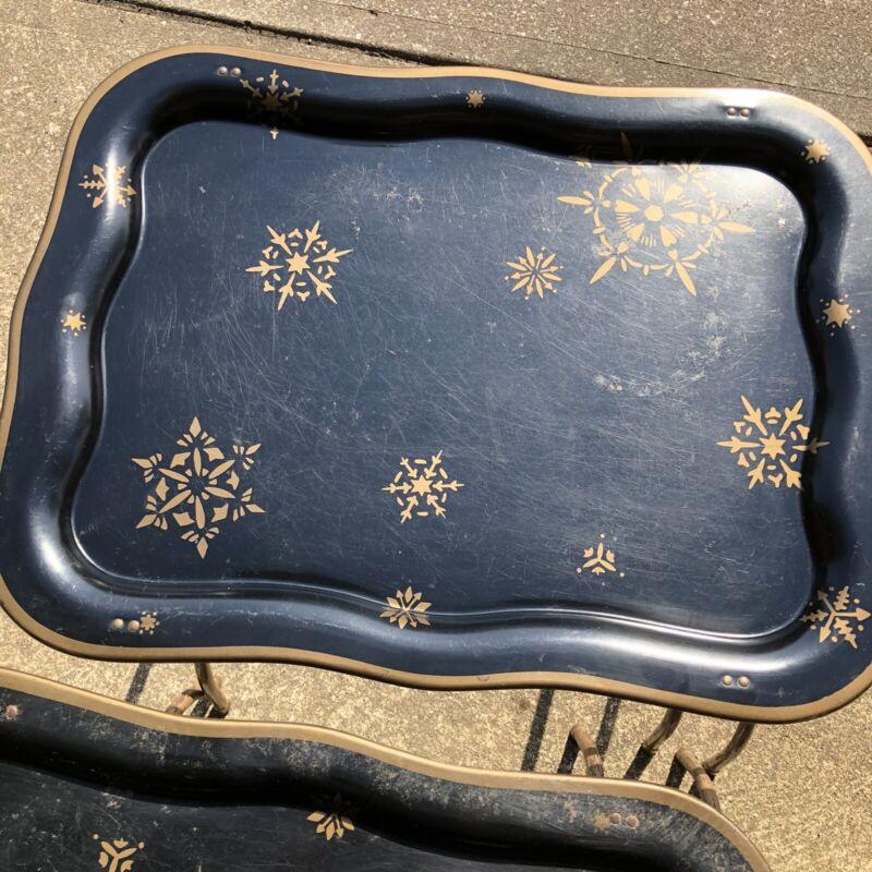 4 Vintage Metal TV Trays On Metal Legs Gold Snowflakes Geometric Shapes No Rack