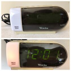 Westclox Digital Electric Alarm Clock w Built-In Night Light & Battery Back Up
