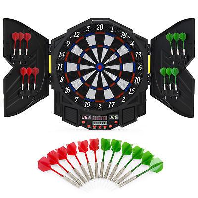 Electronic Dartboard Sport Game Set w/ Cabinet, 12 Darts, LCD Display