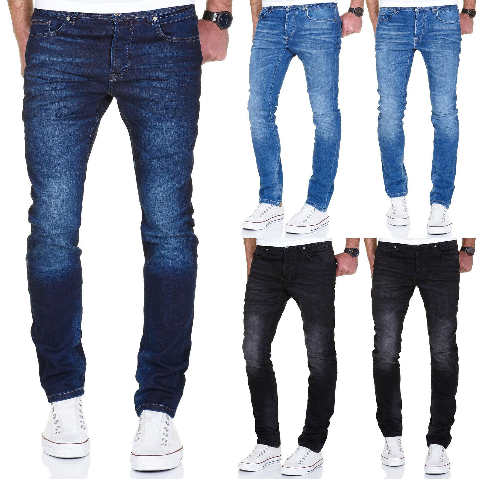 Herren Stretch Crinkle Basic Regular Slim Denim Jeans Hose 7986