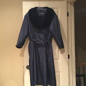 Ladies navy blue/ black winter lined trench coat 13/14 (pp