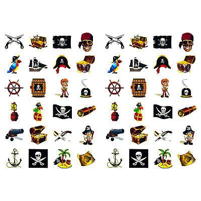 Piraten Sticker Set 48 Kinder - verschiedene Piraten Motive Kinder Geburtstag