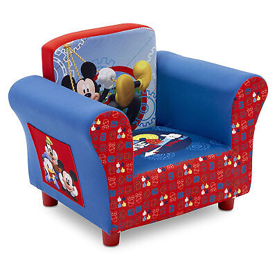 Delta Children Disney Mickey Mouse Upholstered Toddler Chair with Side Pockets Disney Arm Chair