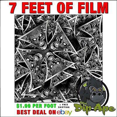 Hydrographic Film Carbon Fiber Skulls Iron Cross 7 Feet Of Film Hydro Dip Ape