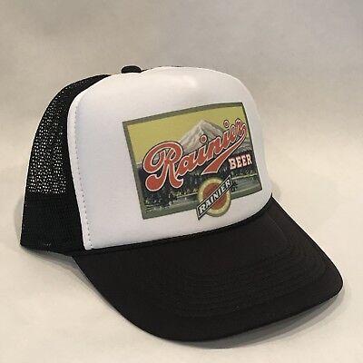Rainier Beer Trucker Hat Vintage 80 s Style Mesh Back Snapback Cap! Black 4e0283252780