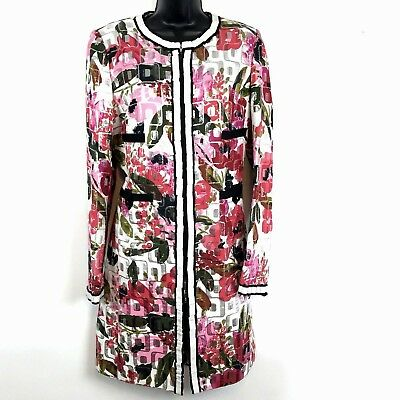 Dolce Gabbana Womens sz 48 Coat Floral metallic print zip front jacket 14 - Dolce & Gabbana Print Coat