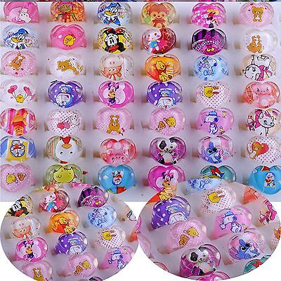 Wholesale 10/20/50PCS Jewelry Mixed Lots Resin Lucite Children Kid Rings Cartoon