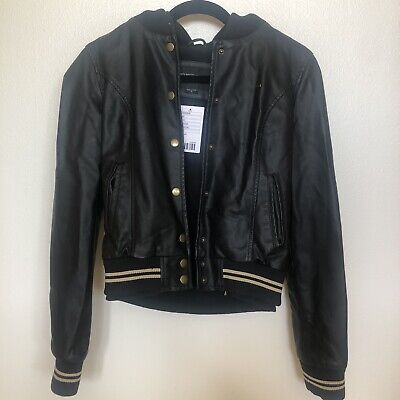 NWT OBEY Womens Varsity Lover Black Faux Leather Hooded Jacket Size S