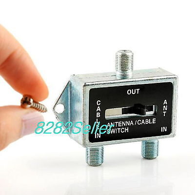 2 WAY A/B Coax RF Switch SPLITTER Manual Selector Cable TV Satellite Antenna NEW