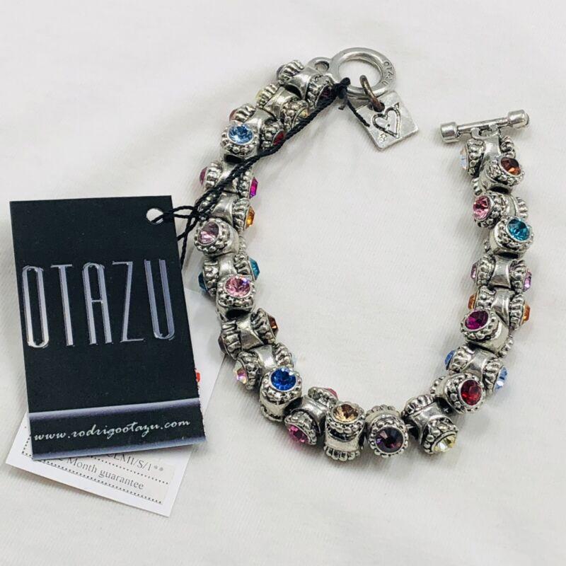 Designer Rodrigo Otazu Signed Colored Crystals Barrel Toggle Bracelet W/ Tags