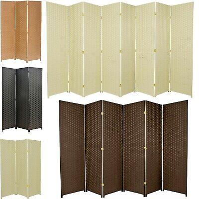 3 4 6 or 8 Panels Room Divider Privacy Screen Weave Design Fiber Black Brown  3 Panel Black Room Divider