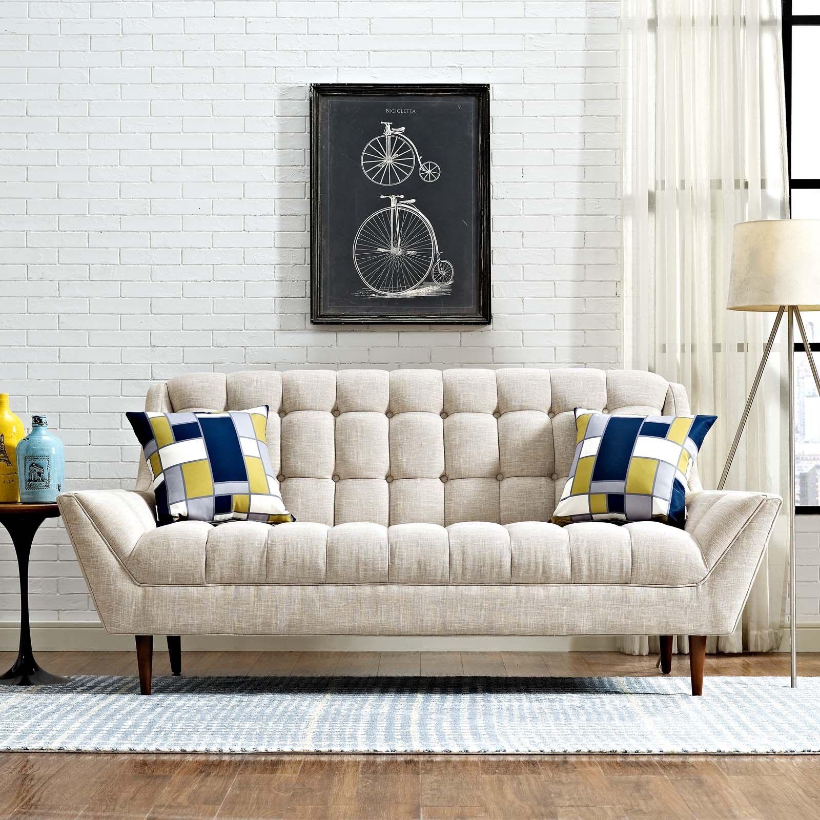 Mid-Century Modern Tufted Beige Upholstered Fabric Loveseat Sofa ...