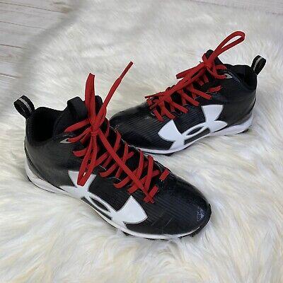New Kids Reebok JR FEROCIOUS AT STRAP Black White Football Cleats 20-343030 12.5