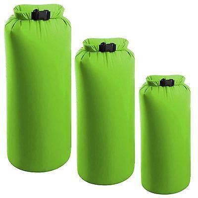 3 Pk Green Dry Sacks Weather Resistant Waterproof Camping Kayak Hike Bag 2/4/8L
