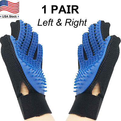 Pet Grooming Gloves Brush Dog Cat Hair Remover Mitt Massage Deshedding 1 Pair