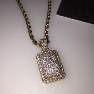 14k Rose gold diamond pendant and 10k rose gold rope chain