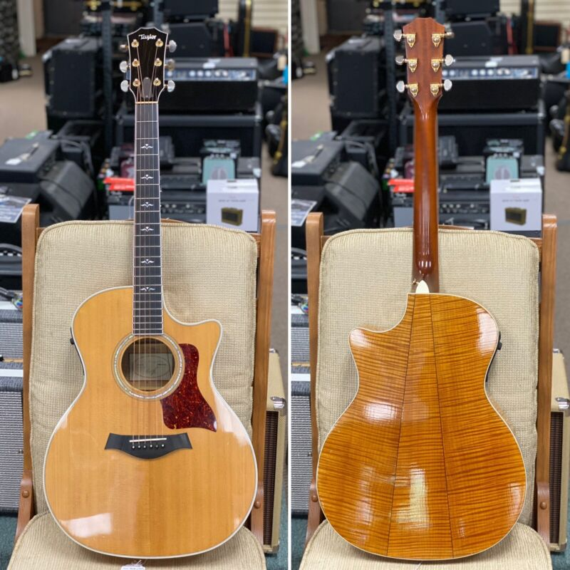 1999 Taylor 614CE 3-Piece Flamed Maple Back Acoustic/Electric Guitar w/ Case