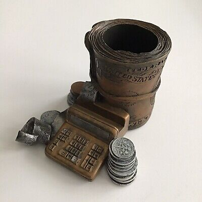 Vintage Accounting Money Roll Pencil Cup Resin Pen Paper Clip Holder Desk Office