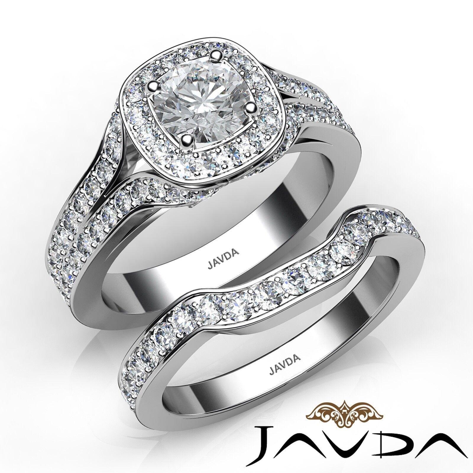 2.37ctw Pave Bridal Set Halo Round Diamond Engagement Ring GIA E-VVS2 White Gold