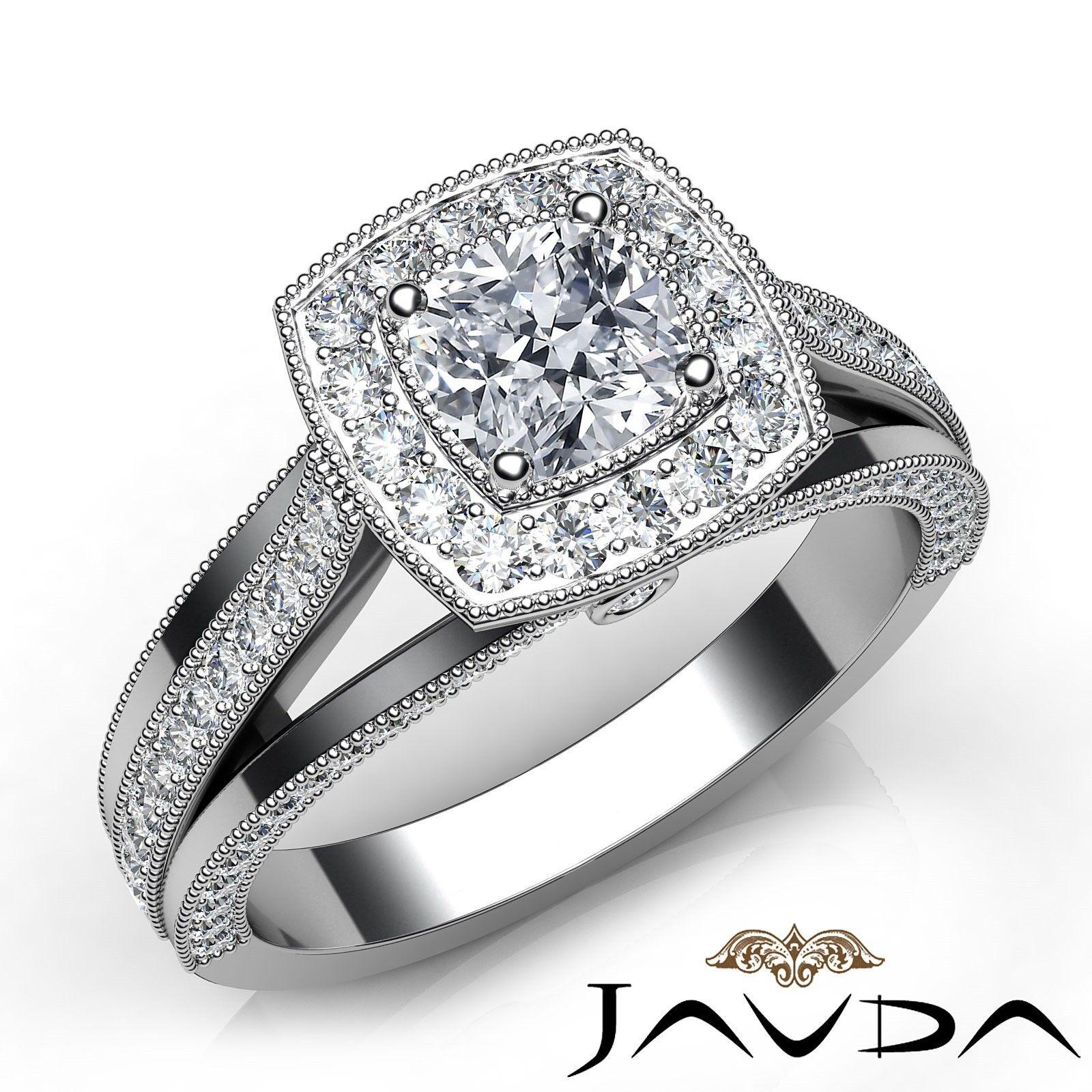 1.65ct Milgrain Halo Bezel Cushion Diamond Engagement Ring GIA F-VVS1 White Gold