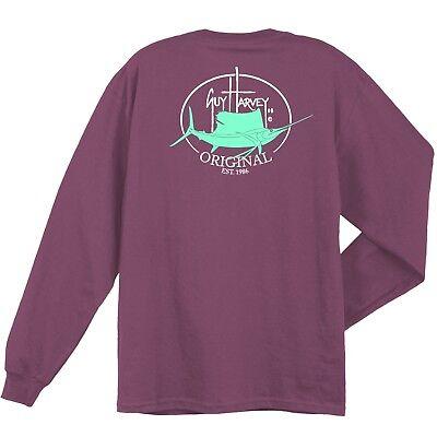 Guy Harvey Original Fin Long Sleeve Fishing Boat T Shirt  Pick Size  S 2X  Plum
