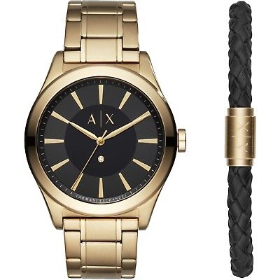 ARMANI EXCHANGE AX7104 Gold Stainless Black Dial and Bracelet Box Set 44MM (Armani And Exchange)