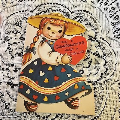 Vintage Greeting Card Valentine Cute Girl Pig Tails Dress