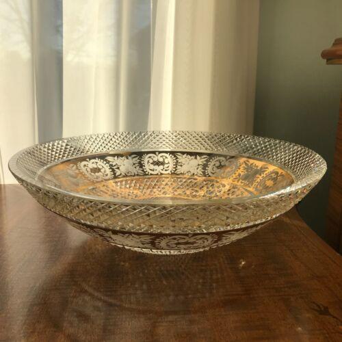 Rare Bohemian Czech Moser Gold Engraved to Clear diamond cut bowl Centerpiece