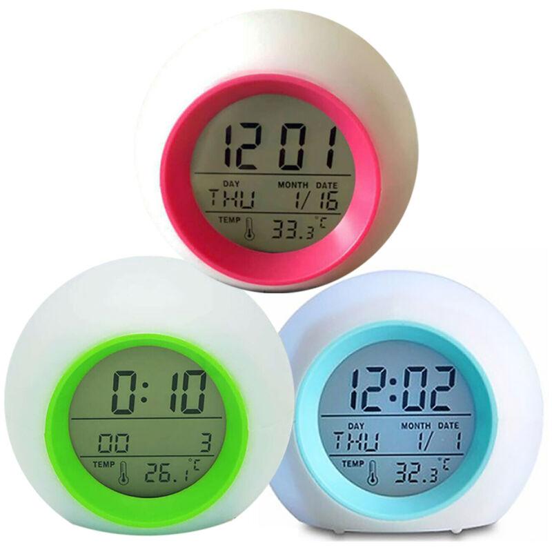 7 Colors Changing LED Digital Alarm Clock Snooze Home Decor