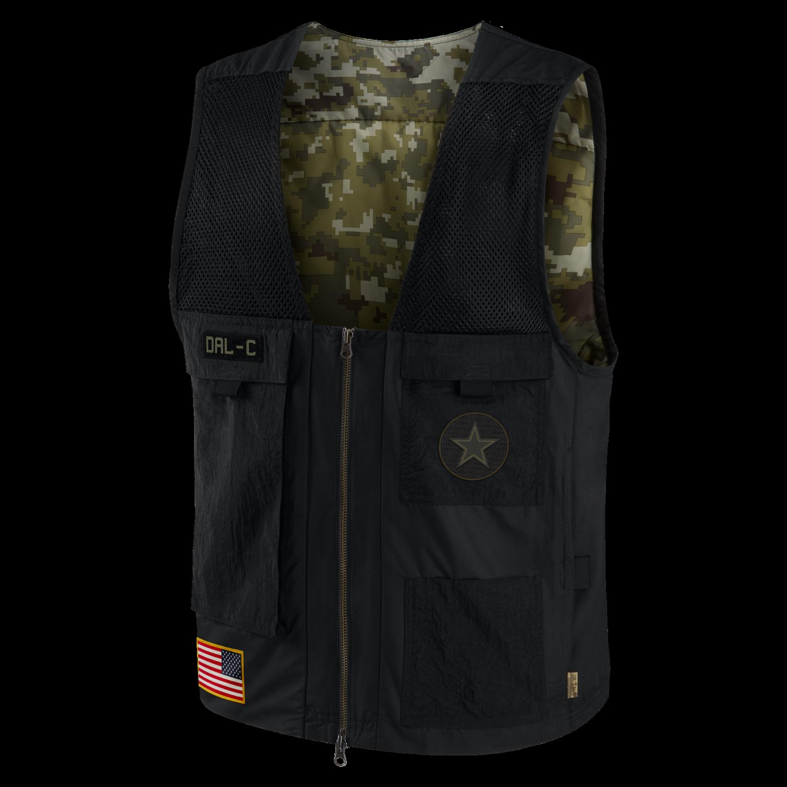 Dallas Cowboys Nike 2020 NFL Salute To Service Sideline Full-Zip Vest – Black>