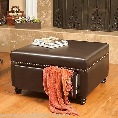 Living Room Furniture Brown Leather Storage Ottoman w/ Nailhead Accent