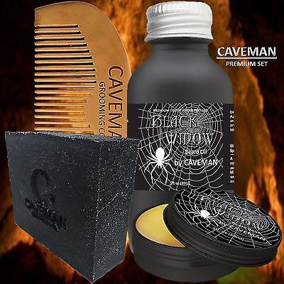 Hand Crafted Caveman® Beard Oil Set KIT Beard Oil + Balm FREE Beard Soap + Comb