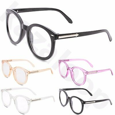 Unisex Groß Rahmen Klar Rund Gläser Brille Geek Nerd Mode Pfeil Bügel