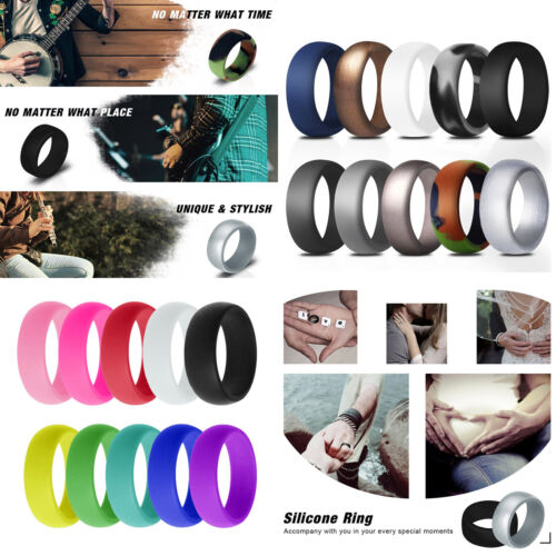 10 PACKS Flexible Silicone Wedding Ring Men Women Rubber Ban