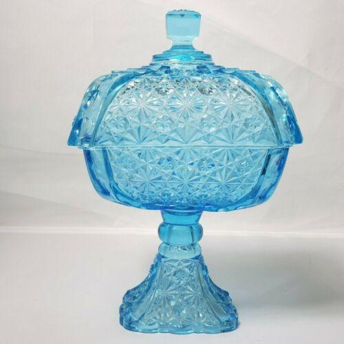 Vintage Blue Glass Square Lidded Candy Dish Pedestal Wedding Cake Box Starburst