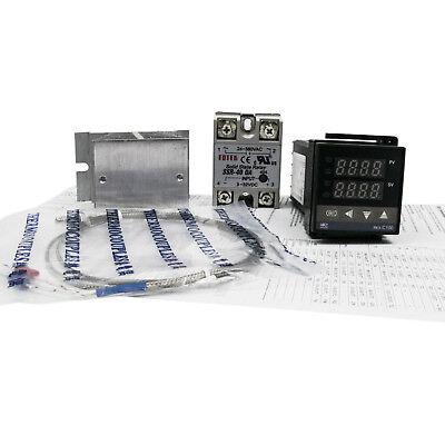 Digital PID Temperature controller + 40A SSR + K thermocouple Sensor + Heataink