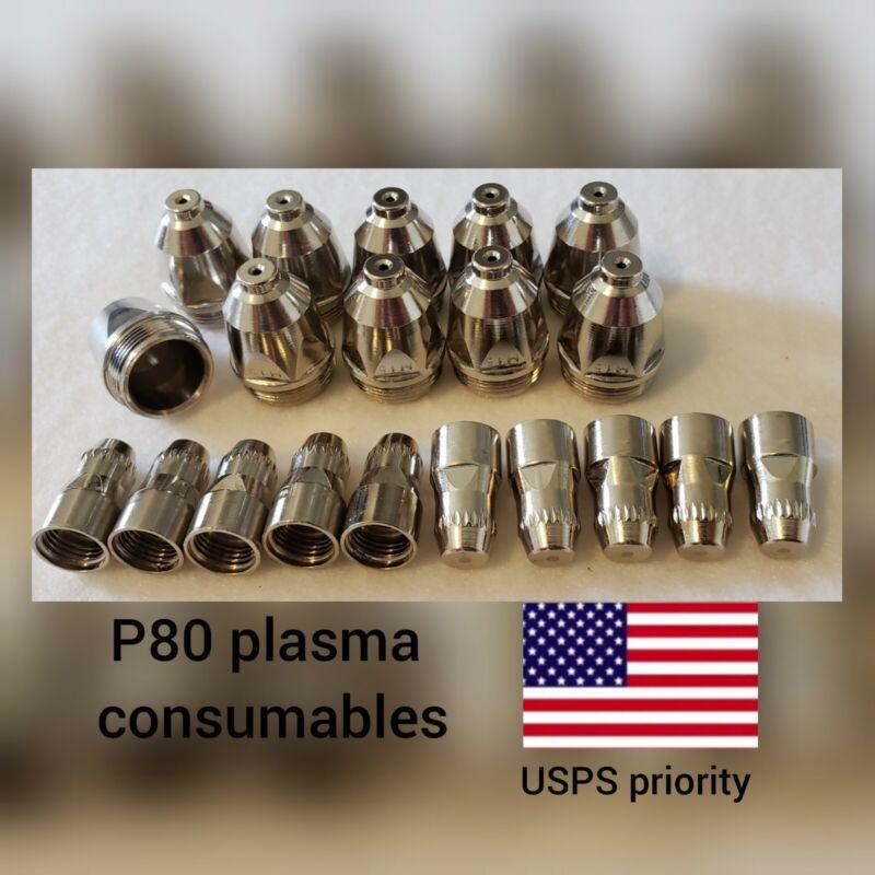 P80 Plasma Torch 60A Consumables 20 Pc Set - 1.5 Nozzles P80 -USPS priority SHIP