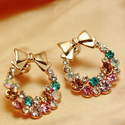 Fashion Jewelry Women Colorful Crystal Rhinestone Noble Ear Stud Earring C436-3b