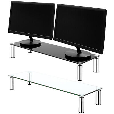 LARGE DOUBLE MONITOR/SCREEN RISER TUBE SHELF COMPUTER/IMAC TV STAND PS4/XBOX