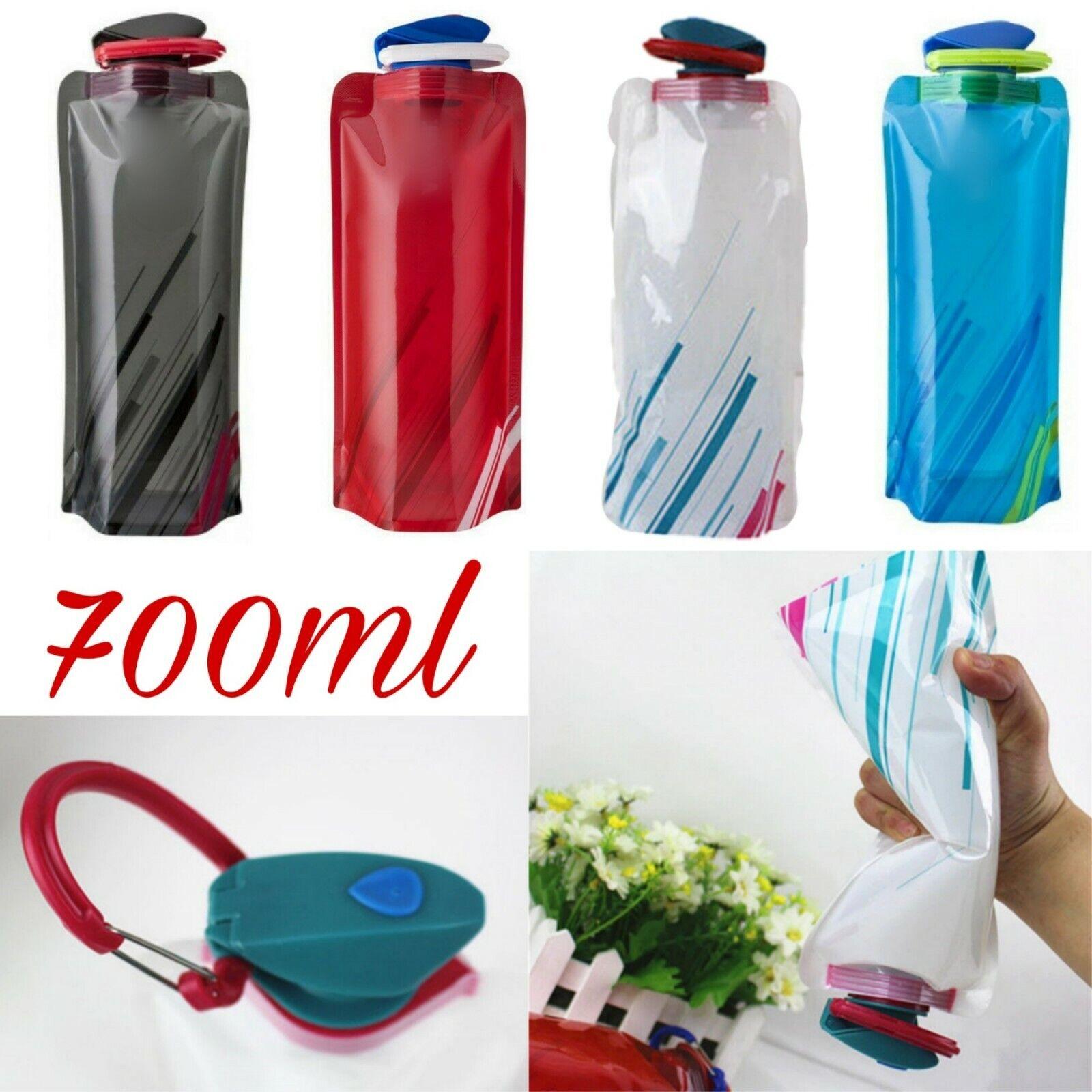 1 - 5x 700ml Trinkflasche Faltbar Festival Sommer Beutel Wasser Flasche Camping