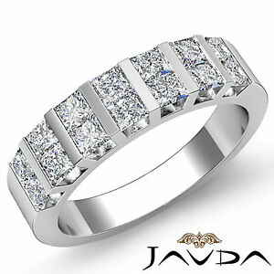 Stunning Princess Cut Diamond Bar Set Womens Wedding Band