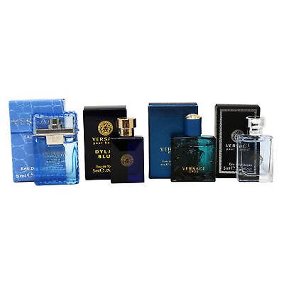 Versace 4pc Miniature Gift Set for Men Eau Fraiche, Dylan Blue, Eros, Pour Homme