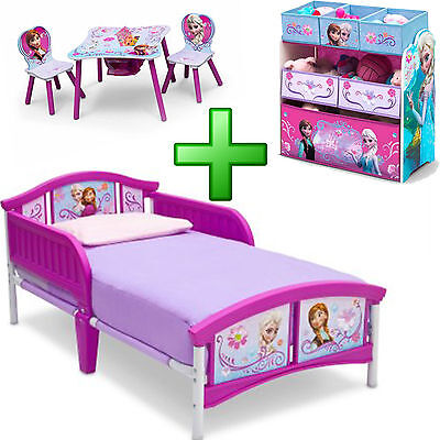 Childrens Bedroom Furniture Set - Girl Bedroom Furniture Set Toy Organizer Child Kid Toddler Bed Table Chairs New